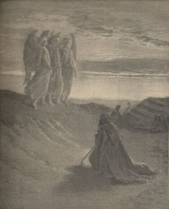 Abraham Entertains Three Strangers by Gustav Dore