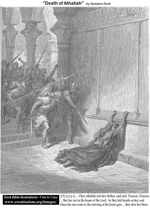 The Death of Athalia (King of Judah) by Gustave Dore