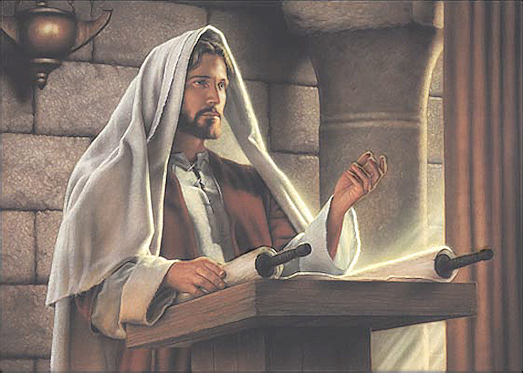 Jesus Christ teaching in the temple Mormon