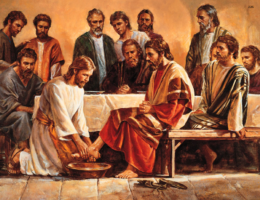 Mormon Jesus washing disciple's feet