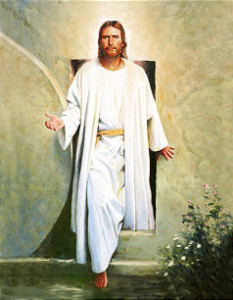 Jesus Christ walking out of Garden Tomb.